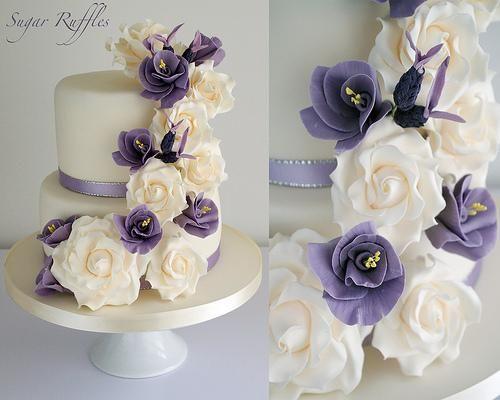 hochzeitstorte lila blumen hochzeitstorte lila lila blumen fondant ...