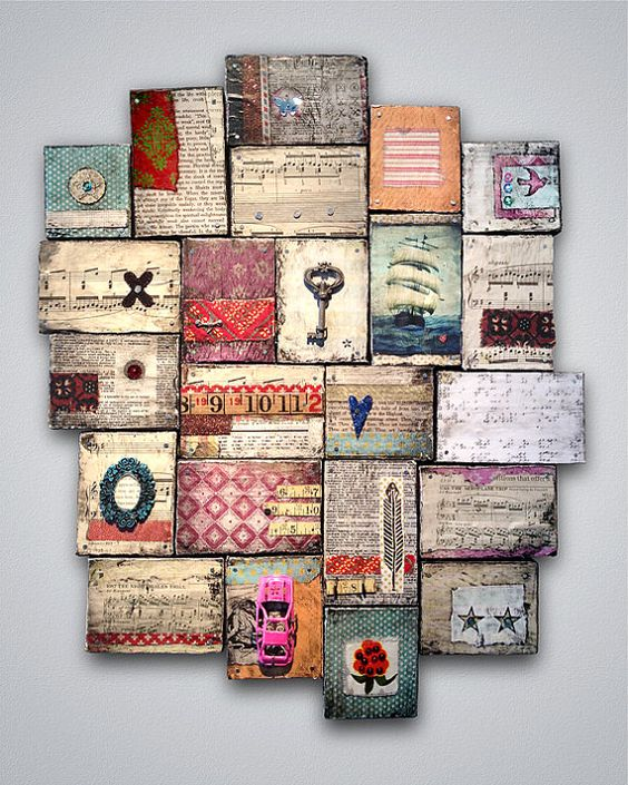 Reflections of Gratitude and Offerings by Karen Michel, Mixed Media Wood Collage http://www.etsy.com/shop/kmichel www.karenmichel.com  #art