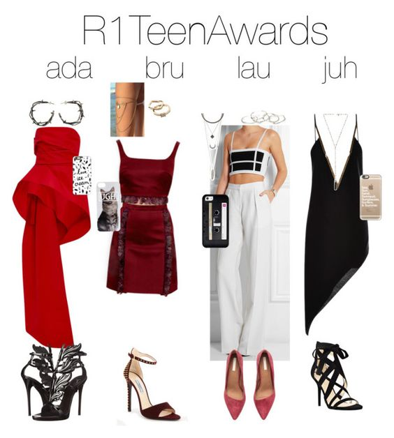 """""""R1TeenAwards"""" by brol-fashion ❤ liked on Polyvore featuring Monique Lhuillier, Balmain, Anthony Vaccarello, H&M, Nine West, Casetify, Prada, Charlotte Russe, Natalie B and Giuseppe Zanotti"""
