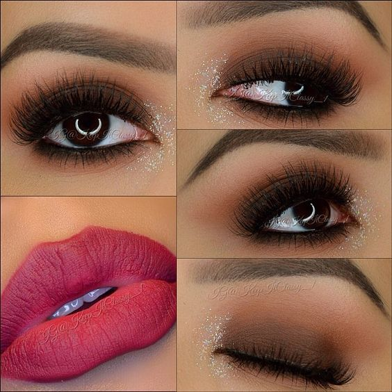 Smokey brown eyes look and that lip color is fab