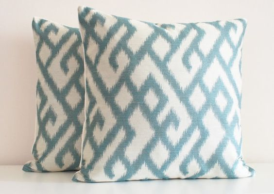 Blue Pillow, Aqua, Modern Pillow, Decorative Throw Pillows, Turquoise, Abstract, Greek Key, Beach Decor