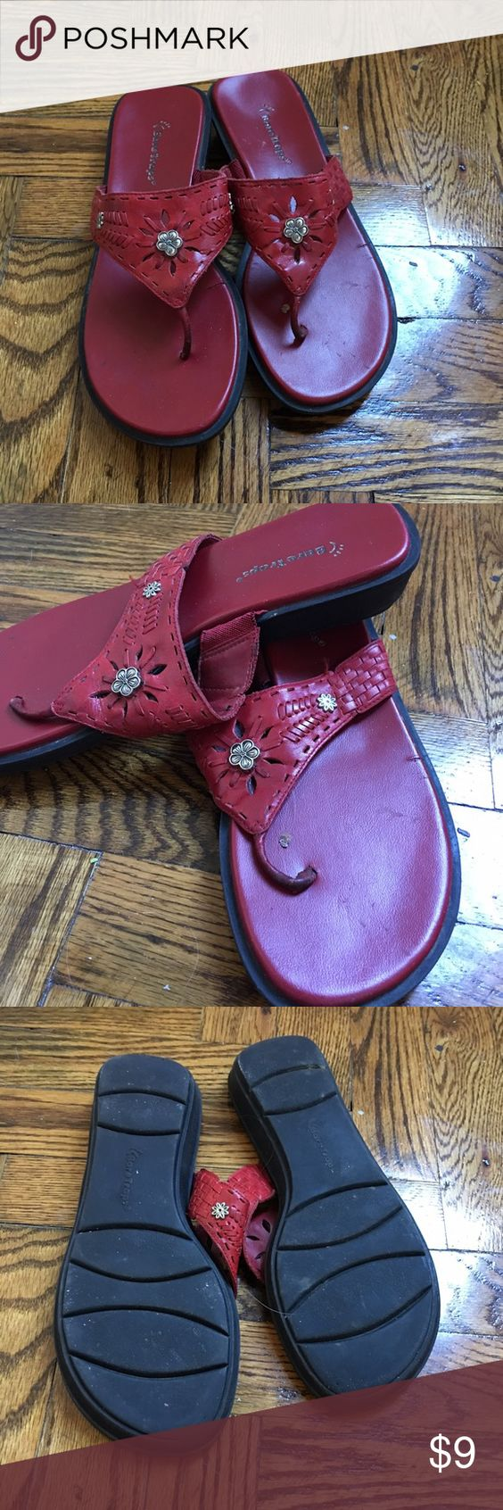 BEAR TRAPS Babble Ladies Leather Sandals Size 8M Red leather upper with rubber sole. Worn a few times this summer. In very good condition. Bear Traps Shoes Sandals