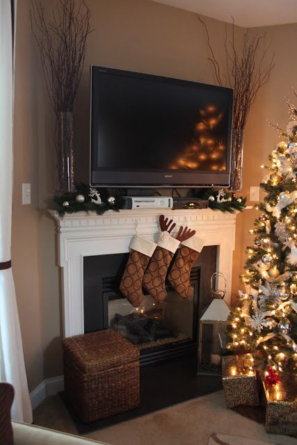 Mantles electronics and tvs on pinterest - Mantel decor ideas with tv ...