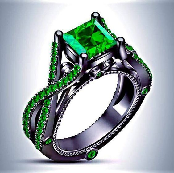 Black Gold or Sterling Silver Slytherin Inspired Princess Cut Emerald  Engagement Ring