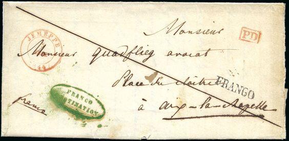 1844 5 9 lettre de jemeppe 5 sept pour aix la chapelle avec marque ovale verte de l 39 ambulant. Black Bedroom Furniture Sets. Home Design Ideas