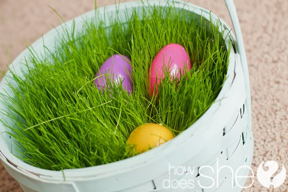 cute grassy Easter baskets