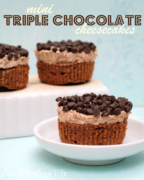 Triple Chocolate Cheesecakes - three times the chocolate makes these cheesecakes amazing
