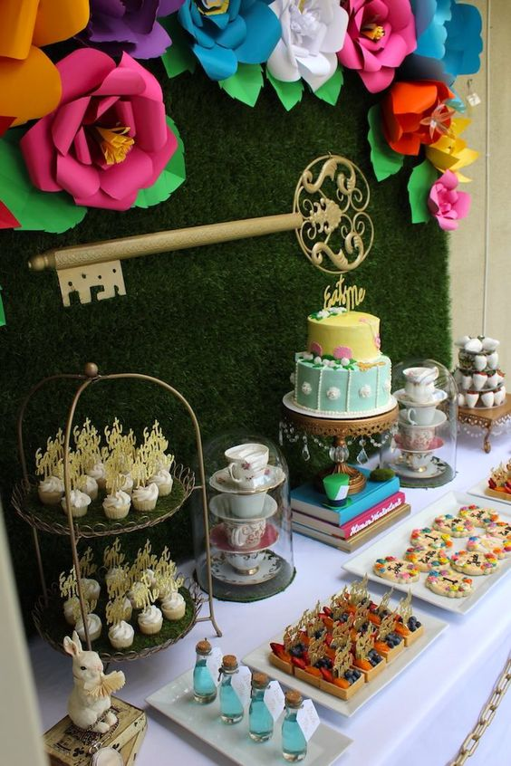 Dessert tables alice in wonderland and wonderland on for Alice in wonderland tea party decoration ideas