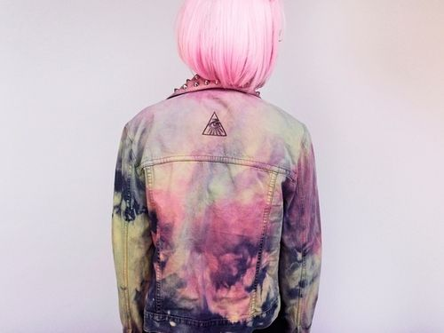 jacket pink dyed hair