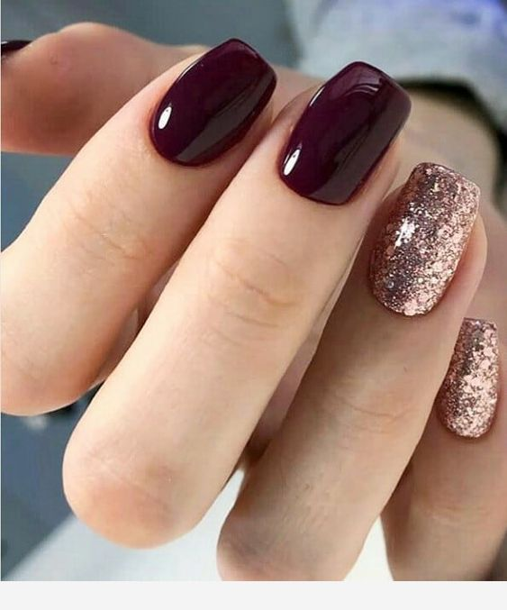 Wine Color Nails : color, nails, Amazon:, Amzn.to/31bcjOk, Nails, Glitter, #Hair, #Hairstyle, #Hairstylist, #HairGoals, #HairCut…, Designs,, Nails,, Short, Square