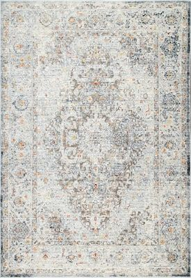 Rugs Usa Light Gray Trance Cloudy Medallion Rug Traditional