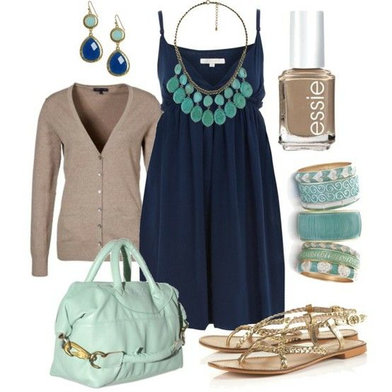outfit: navy-blue thin-strapped gathered-skirt singlet minidress, beige buttonup cardigan, turquoise teardrop stoned necklace, turquoise / blue dangly gemstone earrings, beige nailpolish, gold / turquoise cuff bangles, mint-green handbag, gold plaited sandals