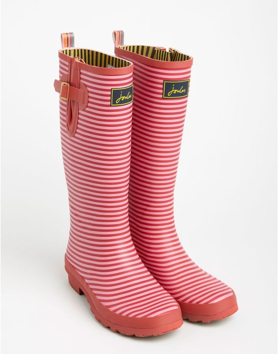 Red Stripe Womens Welly Print Printed Rain Boots | Joules ...
