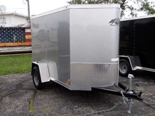 Enclosed Silver Frost 5u0027 X 10u0027 ATC U2013 Aluminum Trailer Company Cargo Trailer.  2u0027 Wedge Nose With Rear Swing Doors, Stone Guard, Roof Vent And 5.5u0027 Iu2026 ...