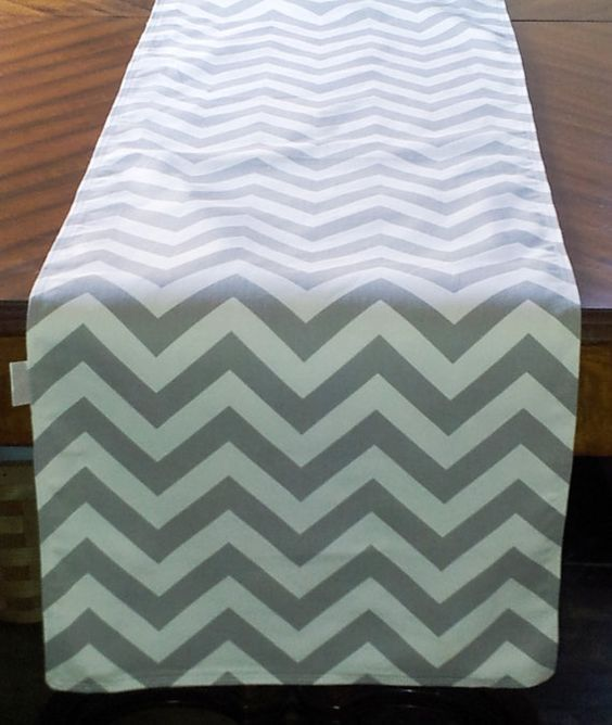 Grey CHEVRON TABLE RUNNER, Select Your Length, Weddings, Showers, Home Decor, Holidays, Parties, Gray and White Chevron ZigZag Print on Etsy, $15.00