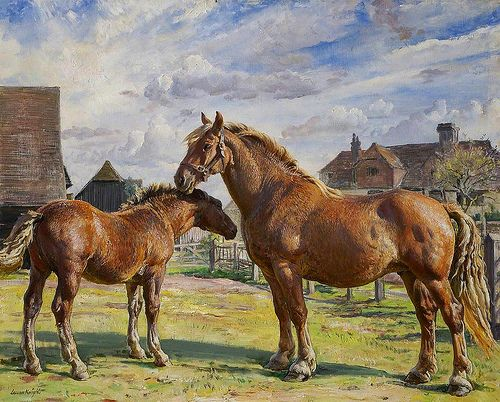 Knight,  Laura (English, 1877-1970)  -  Parham Prunella and her Foal  - s.d.