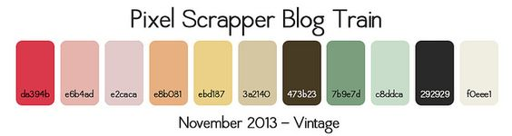 Pixel Scrapper Nov 2013 Blog Train Palette - Vintage