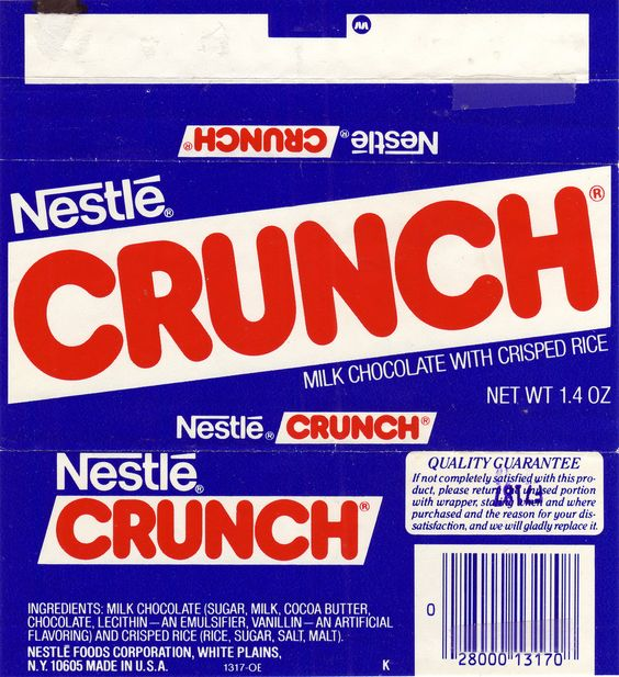 Nestle Crunch Candy Bar Wrapper - 1980s | Projects to Try ...