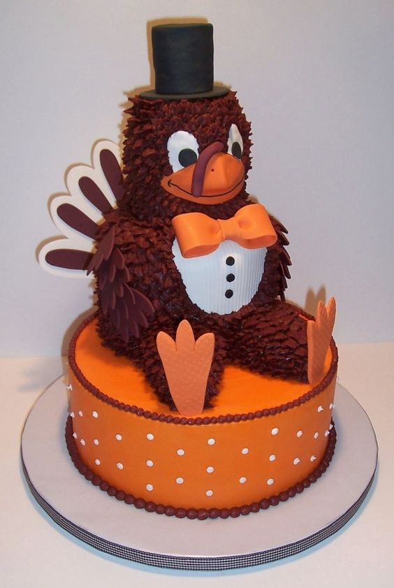 I literally squealed when I saw this!!  The Hokie bird should wear a top hat and bow tie more often!! :D  Great groom's cake!!