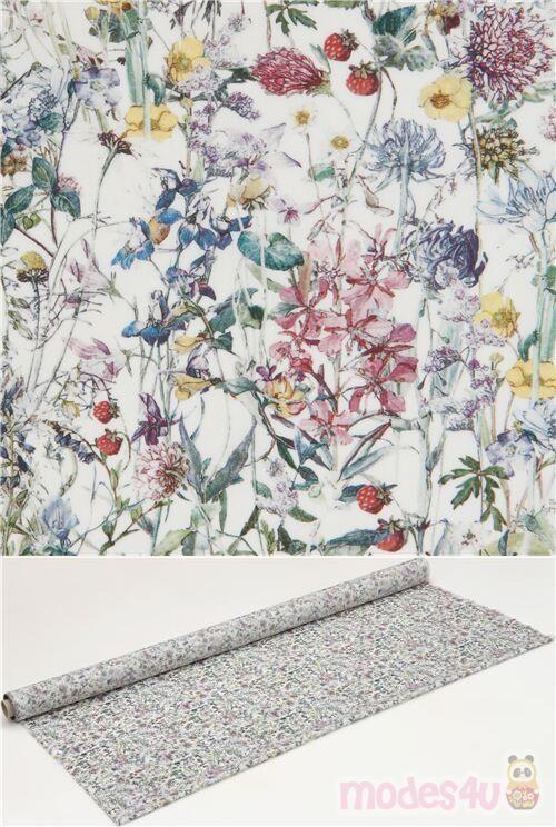 Tissu En Coton Liberty Fabrics Tana Lawn Ecru Avec Des Fleurs Multicolores In 2020 Liberty Fabric Fabric Flowers Colorful Flowers
