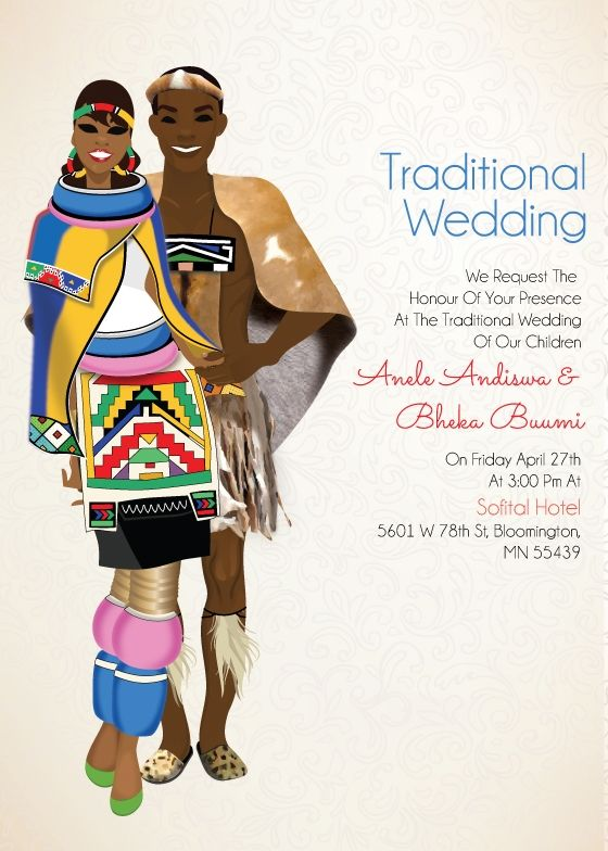 South African Zulu Traditional Wedding Invitation Card