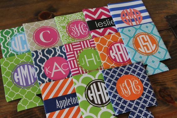 Personalized Monogrammed Koozie  Many Colors and by AbigailLeeHome, $12.00: Personalized Koozie, Monogrammed Koozies, Gifts I M, Color, Gift Ideas, Bridesmaid Gifts, Monogrammed Koozie, Cheap Gifts