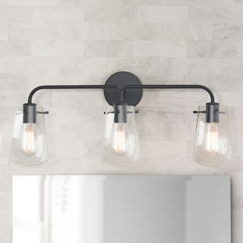 3 Light Clear Glass Bathroom Light Black At Destination Lighting In 2021 Modern Bathroom Light Fixtures Modern Bathroom Lighting Black Bathroom Light Fixtures