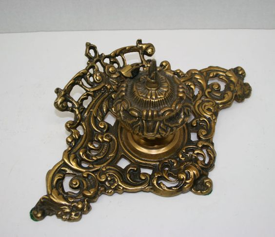 Brass Inkwell//Single Inkwell//Ornate Home by TresorsJeAmour