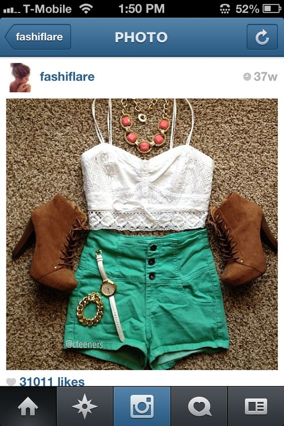 White&green with brown boots