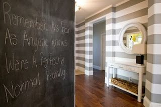 Love the striped wall. (and the note :-)
