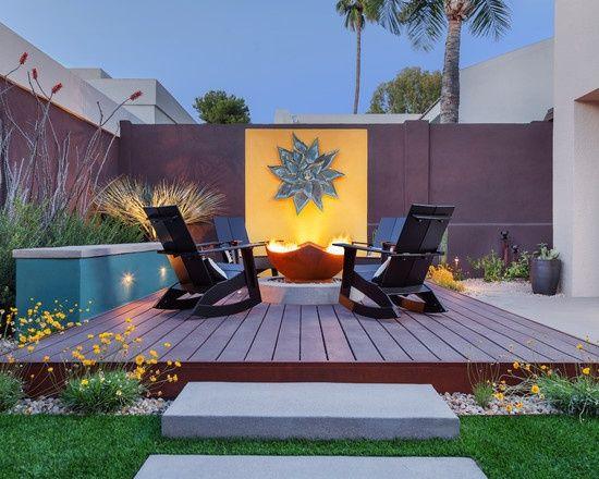 gartenterrasse mauer feuerstelle sessel holz. Black Bedroom Furniture Sets. Home Design Ideas