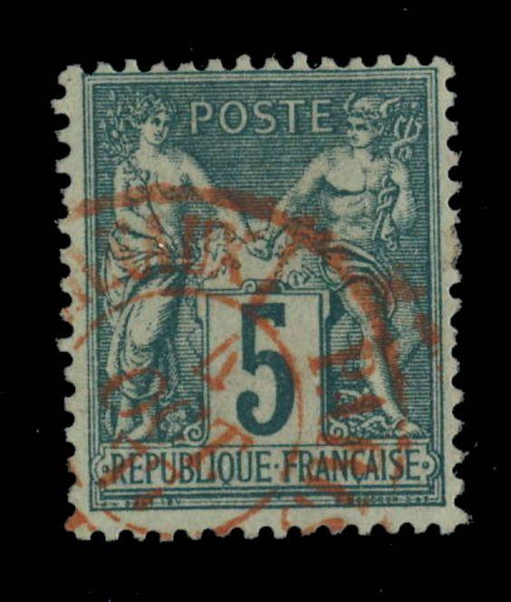 TYPE SAGE - 1877 - N°75 5c VERT (N SOUS U) CAD ROUGE DES JOURNAUX - TB in Timbres, France, France: oblitérés | eBay