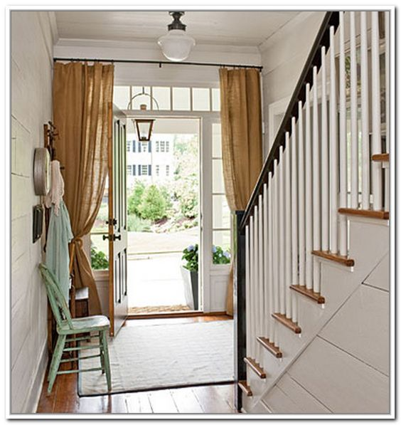 PORTIERE CURTAINS FRONT DOOR, Burlap or natural linen | Draperies ...