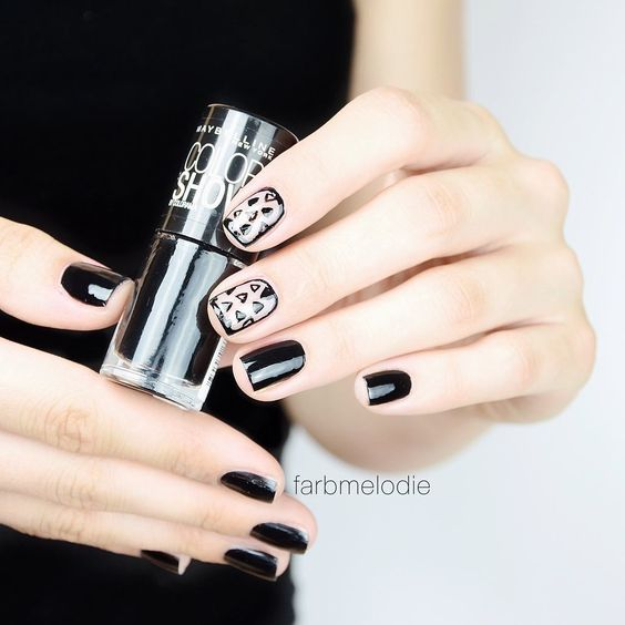 Black Negative Space Nails