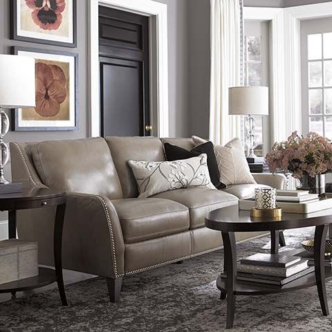 Barrett Leather Sofa By Bassett Furniture | Living Room Furniture