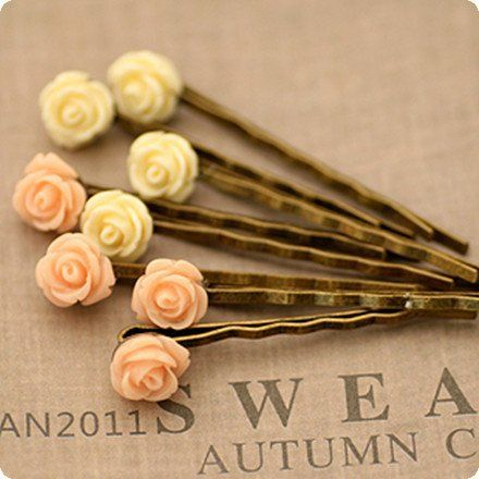 Woman's Hair Accessory Tiny Resin Rose Hair Pin for Girls Vintage Rose Flower Hair Clip from pupu online store.