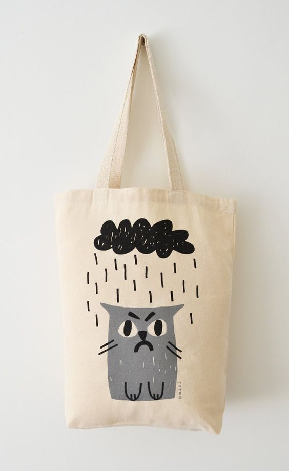 Cat Tote Bag, Hand Screen Printed Grumpy Cat Design in Light Grey & Charcoal