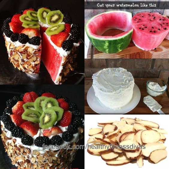 Paleo Watermelon Cake  Greek/yogurt icing Toasted nuts and fresh fruit as topping
