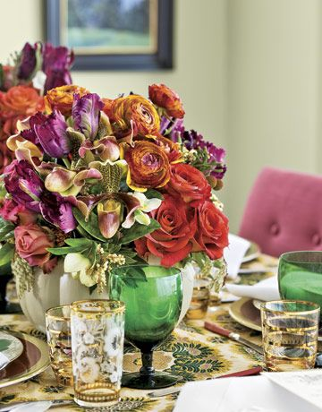 """When you create an arrangement, start with thick-stemmed flowers, then fill in using blooms with more delicate stems,"" says Remco van Vliet, whose floral displays delight millions of visitors at the Metropolitan Museum of Art in New York City.        Read more: Thanksgiving Table Settings and Decorations - Thanksgiving Tablescapes Decorating Ideas - Country Living"