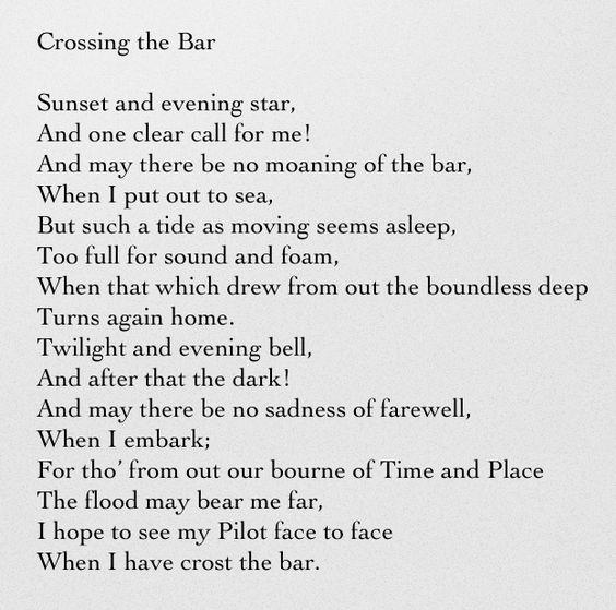 lord alfred tennysons crossing the bar essay Essay crossing the bar analysis home / english notes / poetry / crossing the bar analysis read this article to know about alfred lord tennyson's crossing the bar .