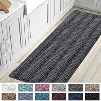 Bath Mats For Bathroom Non Slip Luxury Chenille Striped Bath Rug Runners Large 59x20 Absorbent In 2020 Bath Runner Rugs Bathroom Plants Striped Bath Rug