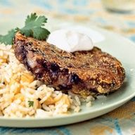 Cuban Black Bean Patties with Pineapple Rice Recipe - So delicious!  I usually saute the onions before adding them in.  I also cook the patties in coconut oil for an extra umph! of flavor.