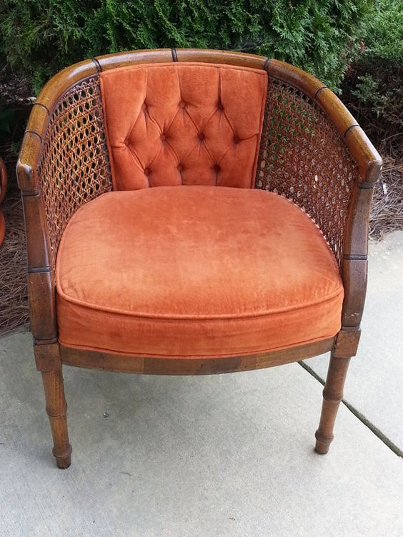 Vintage Barrel Back Cane Chair By Lunalakeandco On Etsy