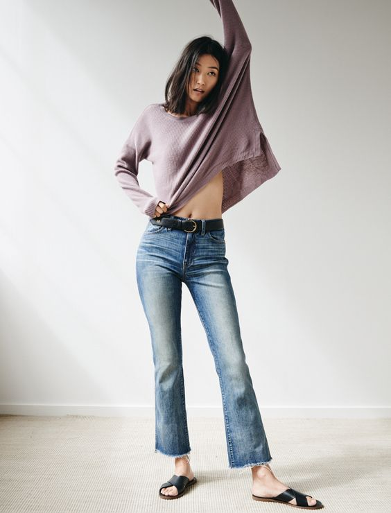 madewell warmlight sweater worn with the cali demi boot jeans, perfect leather belt + boardwalk slide sandal.