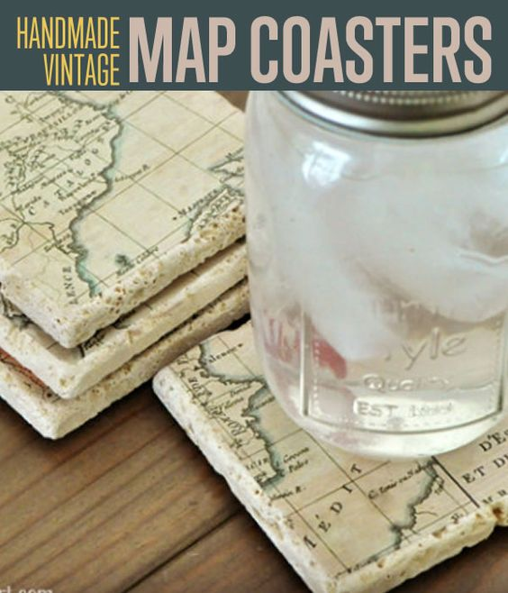 How to Make DIY Vintage Map Coasters | Vintage maps, Easy craft ...
