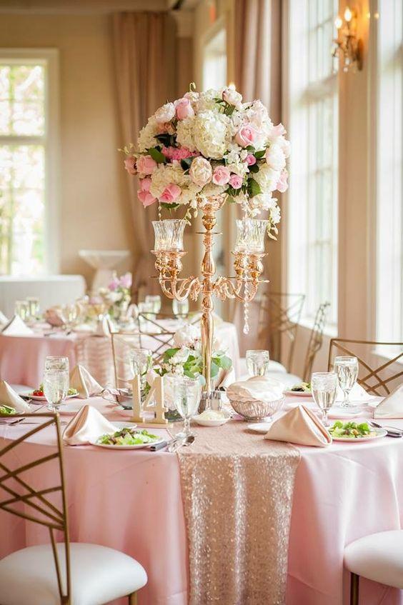 Tall centerpiece blush gold wedding at pinnacle golf