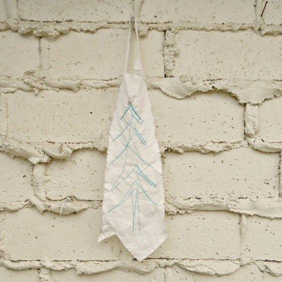 Tree Wall Hanging Stitched Fir Tree on Muslin Handmade by viAnneli, $18