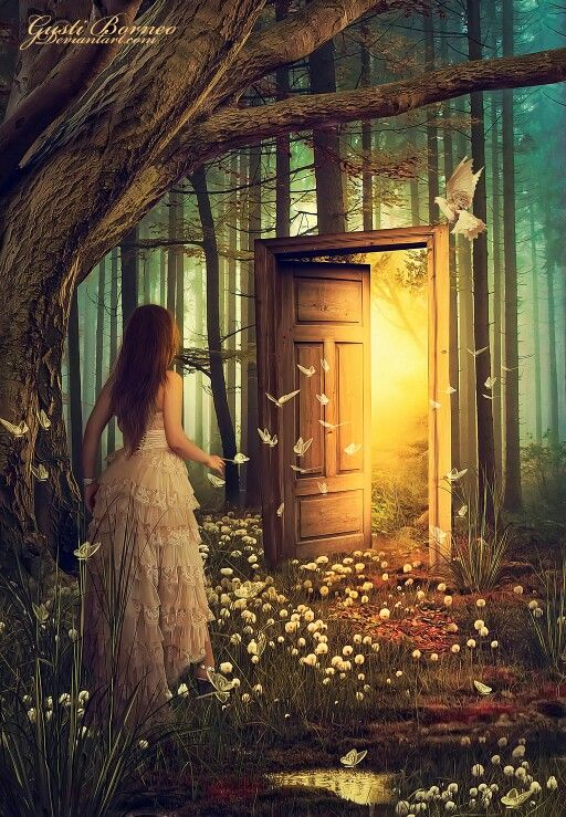 The image draws me in with color and setting and gets my imagination running with the possibilities of where that door leads