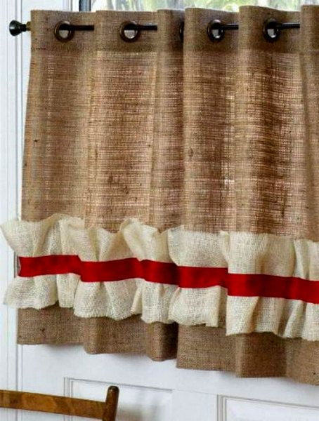 "Burlap Curtain Panel with grommets 64"" x 36"" - Burlap Valance with ruffle:"