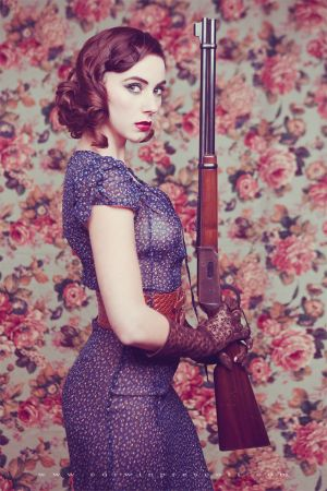 FOCUS on the Winchester Rifle (Femme Fatale, Kacie Marie by Corwin Prescott)..  Uberti or Winchester??.. 1873??.. caliber??.. all the important details..